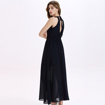 TE2141OMSS Europe fashion lace collar backless lacing elastic waist chiffon long dress