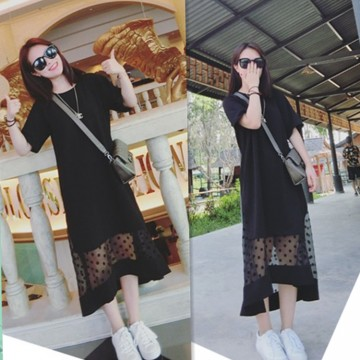 TE5750JZYS Plus size trendy pure color short sleeve dress