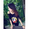 TE5763JZYS Cute cartoon print letters lace sexy off shoulder t-shirt
