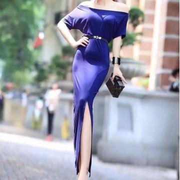 TE5890YFFS Simple sexy split tight hip maxi dress