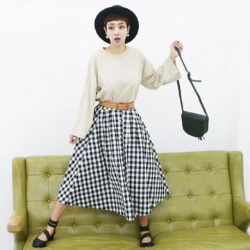 TE6404YZS Black and white checks vintage elegant A-line umbrella skirt