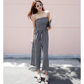 TE6405YZS Korean fashion stripes tube top empire waist jumpsuit