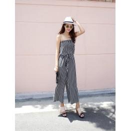 TE6405YZS Korean fashion stripes tube top empire waist jumpsuit