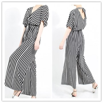 TE6410YZS Europe fashion black and white stripes backless empire waist jumpsuit