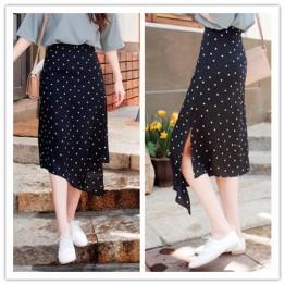 TE6411YZS Korean fashion white dot irregular chiffon skirt