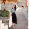 TE6411YZS Korean fashion white dot irregular chiffon skirt