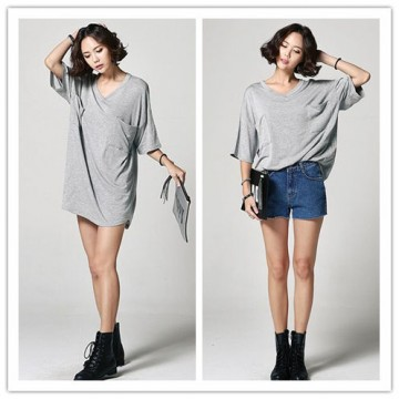 TE6412YZS Korean style simple loose batwing sleeve V neck t-shirt