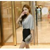 TE6413YZS Korean style batwing sleeve V neck contract color tight hip dress