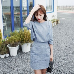 TE6515WJYS Vintage temperament slim waist pocket vertical stripes dress