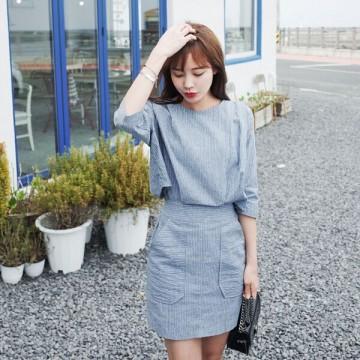 TE6515WJYS Vintage temperament slim waist pocket vertical stripes dress