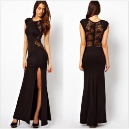 TE6813YWQS Europe fashion split lace back maxi formal dress