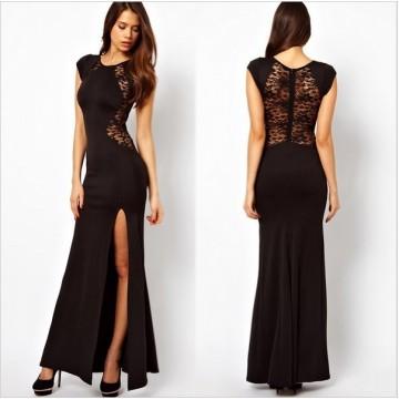 TE6813YWQS Europe fashion split lace back maxi formal dress