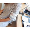 TE6814YWQS Japanese style slim lace splicing flouncing sleeve stripes blouse