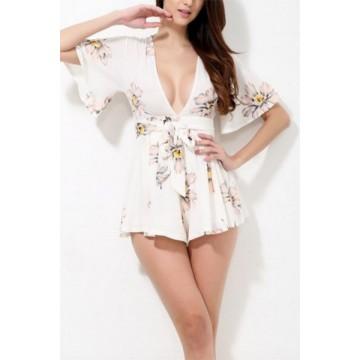 TE1073EQFS Summer new style deep v neck lacing print jumpsuit