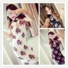 TE1077YYG Vintage print tassel cheongsam dress