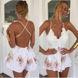 TE1078EQFS Summer hot sale flowers print backless jumpsuit