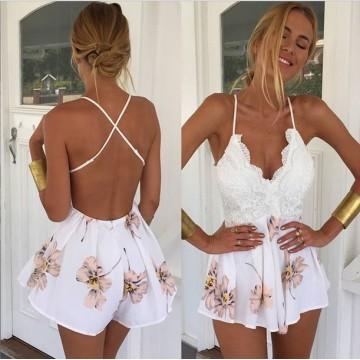 TE1078EQFS Summer hot sale flowers print backless jumpsuit