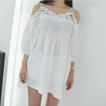 TE1613TGFS Korean fashion lace off shoulder casual loose large size blouse