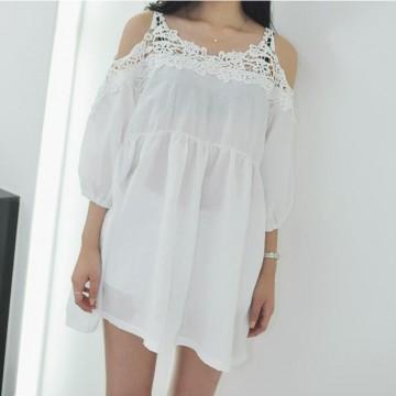 TE1613TGFS Korean fashion lace off shoulder casual loose large size blouse