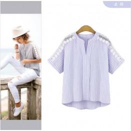 TE5155EQFS Europe fashion large size stripes lace splicing t-shirt