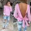 TE6397MGW Europe fashion sext backless lacing stripes shirt