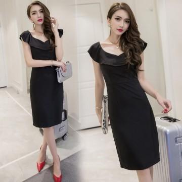 TE7008WMSS Korean style sexy debutant sleeveless flouncing neck slit tight hip dress