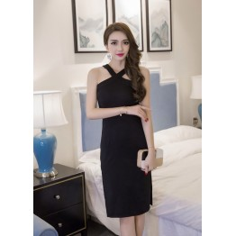 TE7011WMSS New style sexy debutant cross neck side slit temperament slim dress