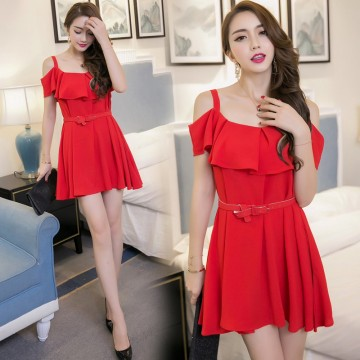 TE7013WMSS Korean style flouncing collar wide hem off shoulder gallus dress