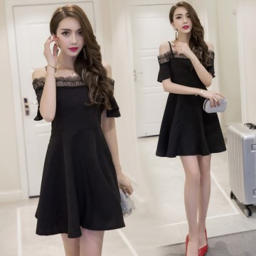 TE7018WMSS Korean style hollow out lace boat neck off shoulder flouncing sleeve dress