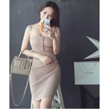 TE7815XYF Summer debutant style club slim buttons strap tight hip dress