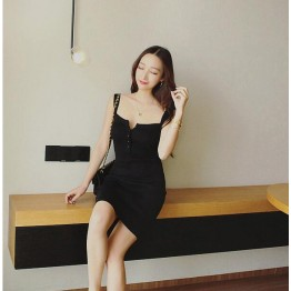 TE7815XYF Summer debutant style club slim buttons strap tight hip dress