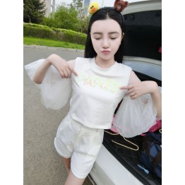 TE8227XXWL Hot sequins letters mesh trumpet sleeve cute doll tops