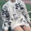 TE9187AXMZC Harajuku style irregular comics print baseball coat