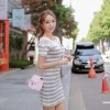 TE9929WJYS Korean fashion lace neckline splicing stripes dress
