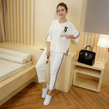 TE1050MYH Korean fashion casual loose sports t-shirt with harem pants tracksuit