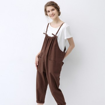 TE1054LYF Simple cotton ramie casual ninth overalls