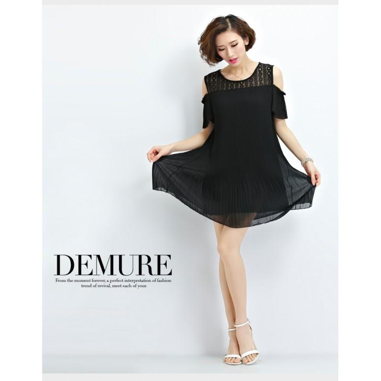 Te1618xekj Plus Size Off Shoulder Crumple Chiffon Dress