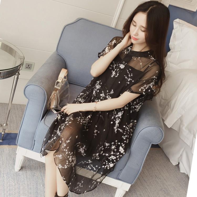 Te585psy Plus Size Shivering Chiffon Two Piece Dress