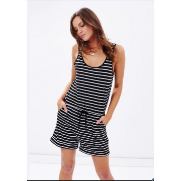 TE65127YWQS Hot sale casual stripes jumpsuit