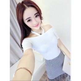 TE6552YZL Fashion multi-way wear modal tops with houndstooth tassel skirt