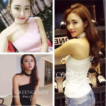 TE6553YZL Fashion trendy simple oblique off shoulder neckerchief tops