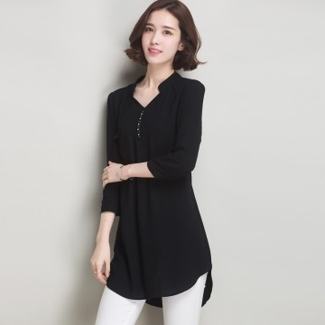 TE6578HYW Plus size casual three quarter sleeve joker loose blouse
