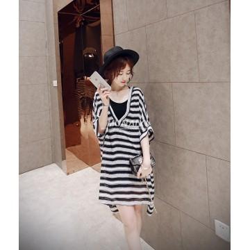 TE6603HPG New style Korean fashion V neck slim stripes two pieces maternity dress