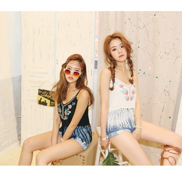 TE6604HPG National style embroidery tassel sleeveless tops