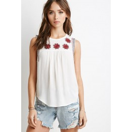 TE6605HPG New style embroidery five-pointed stars sleeveless tops