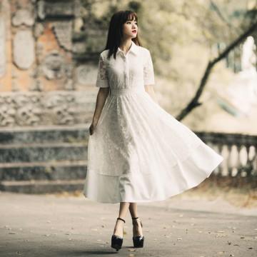 TE7233LMDS Literature and art vintage lace shirt collar dress