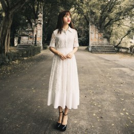 TE7233LMDS Literature and art vintage lace shirt collar dress