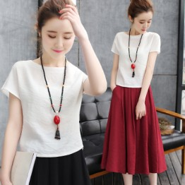 TE7986PSY Literature and art flax tops with A-line skirt