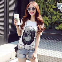 TE8108NRQ Korean style lace back simple embroidery mesh beauty pattern t-shirt