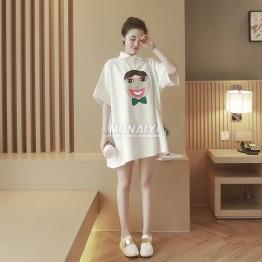 TE652XWTX Plus size v cartoon print lapel maternity dress